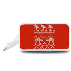 Holiday Party Attire Ugly Christmas Red Background Portable Speaker (White)