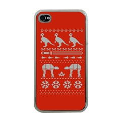 Holiday Party Attire Ugly Christmas Red Background Apple iPhone 4 Case (Clear)