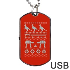 Holiday Party Attire Ugly Christmas Red Background Dog Tag USB Flash (One Side)