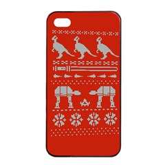 Holiday Party Attire Ugly Christmas Red Background Apple iPhone 4/4s Seamless Case (Black)