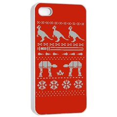 Holiday Party Attire Ugly Christmas Red Background Apple iPhone 4/4s Seamless Case (White)