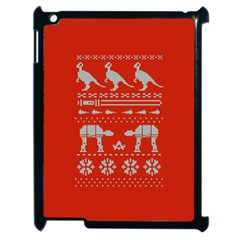 Holiday Party Attire Ugly Christmas Red Background Apple iPad 2 Case (Black)