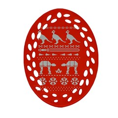 Holiday Party Attire Ugly Christmas Red Background Ornament (Oval Filigree)