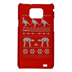 Holiday Party Attire Ugly Christmas Red Background Samsung Galaxy S2 i9100 Hardshell Case