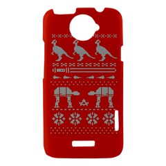 Holiday Party Attire Ugly Christmas Red Background HTC One X Hardshell Case