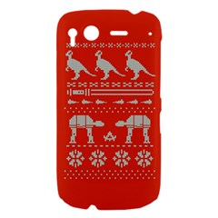 Holiday Party Attire Ugly Christmas Red Background HTC Desire S Hardshell Case