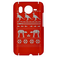 Holiday Party Attire Ugly Christmas Red Background HTC Desire HD Hardshell Case
