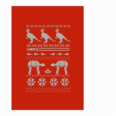 Holiday Party Attire Ugly Christmas Red Background Small Garden Flag (two Sides)