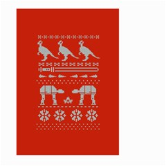 Holiday Party Attire Ugly Christmas Red Background Large Garden Flag (two Sides)