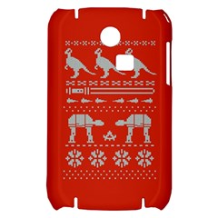 Holiday Party Attire Ugly Christmas Red Background Samsung S3350 Hardshell Case