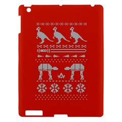 Holiday Party Attire Ugly Christmas Red Background Apple iPad 3/4 Hardshell Case