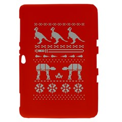 Holiday Party Attire Ugly Christmas Red Background Samsung Galaxy Tab 8.9  P7300 Hardshell Case