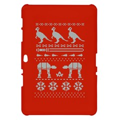 Holiday Party Attire Ugly Christmas Red Background Samsung Galaxy Tab 10.1  P7500 Hardshell Case