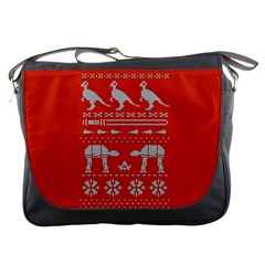 Holiday Party Attire Ugly Christmas Red Background Messenger Bags