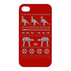 Holiday Party Attire Ugly Christmas Red Background Apple iPhone 4/4S Premium Hardshell Case