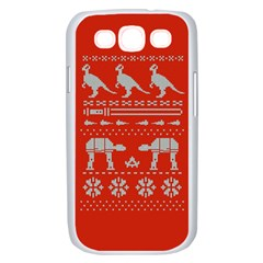 Holiday Party Attire Ugly Christmas Red Background Samsung Galaxy S III Case (White)
