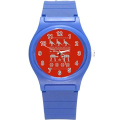 Holiday Party Attire Ugly Christmas Red Background Round Plastic Sport Watch (S)