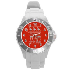 Holiday Party Attire Ugly Christmas Red Background Round Plastic Sport Watch (L)