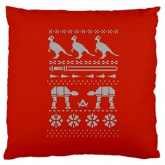 Holiday Party Attire Ugly Christmas Red Background Large Cushion Case (Two Sides)