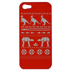 Holiday Party Attire Ugly Christmas Red Background Apple iPhone 5 Hardshell Case