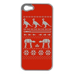 Holiday Party Attire Ugly Christmas Red Background Apple iPhone 5 Case (Silver)