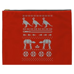 Holiday Party Attire Ugly Christmas Red Background Cosmetic Bag (XXXL)