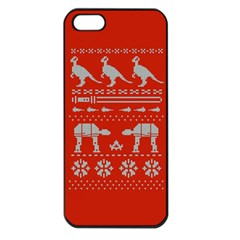 Holiday Party Attire Ugly Christmas Red Background Apple iPhone 5 Seamless Case (Black)