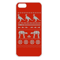 Holiday Party Attire Ugly Christmas Red Background Apple iPhone 5 Seamless Case (White)