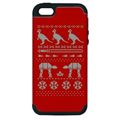 Holiday Party Attire Ugly Christmas Red Background Apple iPhone 5 Hardshell Case (PC+Silicone)