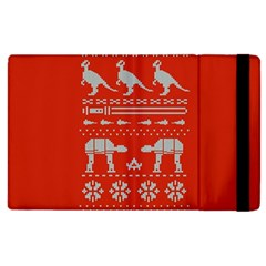 Holiday Party Attire Ugly Christmas Red Background Apple iPad 2 Flip Case