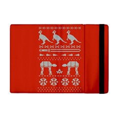 Holiday Party Attire Ugly Christmas Red Background Apple iPad Mini Flip Case