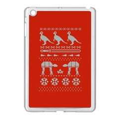 Holiday Party Attire Ugly Christmas Red Background Apple iPad Mini Case (White)