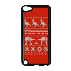 Holiday Party Attire Ugly Christmas Red Background Apple iPod Touch 5 Case (Black)