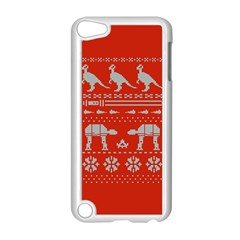 Holiday Party Attire Ugly Christmas Red Background Apple iPod Touch 5 Case (White)