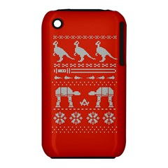 Holiday Party Attire Ugly Christmas Red Background Apple iPhone 3G/3GS Hardshell Case (PC+Silicone)