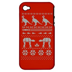 Holiday Party Attire Ugly Christmas Red Background Apple iPhone 4/4S Hardshell Case (PC+Silicone)