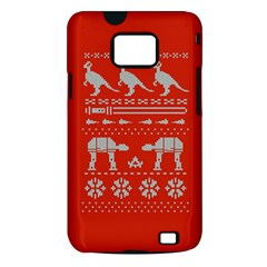 Holiday Party Attire Ugly Christmas Red Background Samsung Galaxy S II i9100 Hardshell Case (PC+Silicone)