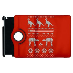 Holiday Party Attire Ugly Christmas Red Background Apple iPad 2 Flip 360 Case