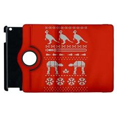 Holiday Party Attire Ugly Christmas Red Background Apple iPad 3/4 Flip 360 Case