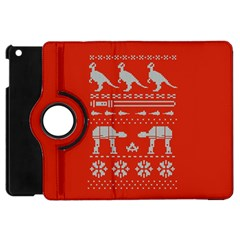 Holiday Party Attire Ugly Christmas Red Background Apple iPad Mini Flip 360 Case