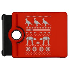 Holiday Party Attire Ugly Christmas Red Background Kindle Fire HD Flip 360 Case