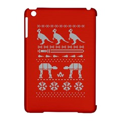 Holiday Party Attire Ugly Christmas Red Background Apple iPad Mini Hardshell Case (Compatible with Smart Cover)