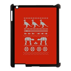 Holiday Party Attire Ugly Christmas Red Background Apple iPad 3/4 Case (Black)