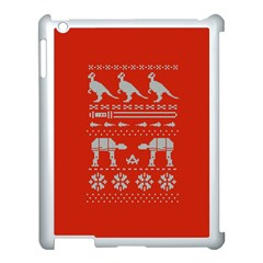 Holiday Party Attire Ugly Christmas Red Background Apple iPad 3/4 Case (White)