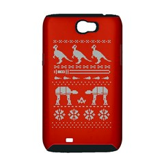 Holiday Party Attire Ugly Christmas Red Background Samsung Galaxy Note 2 Hardshell Case (PC+Silicone)