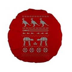 Holiday Party Attire Ugly Christmas Red Background Standard 15  Premium Round Cushions