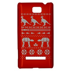 Holiday Party Attire Ugly Christmas Red Background HTC 8S Hardshell Case