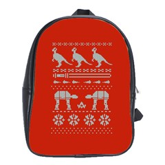 Holiday Party Attire Ugly Christmas Red Background School Bags (XL)