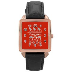 Holiday Party Attire Ugly Christmas Red Background Rose Gold Leather Watch