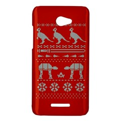 Holiday Party Attire Ugly Christmas Red Background HTC Butterfly X920E Hardshell Case